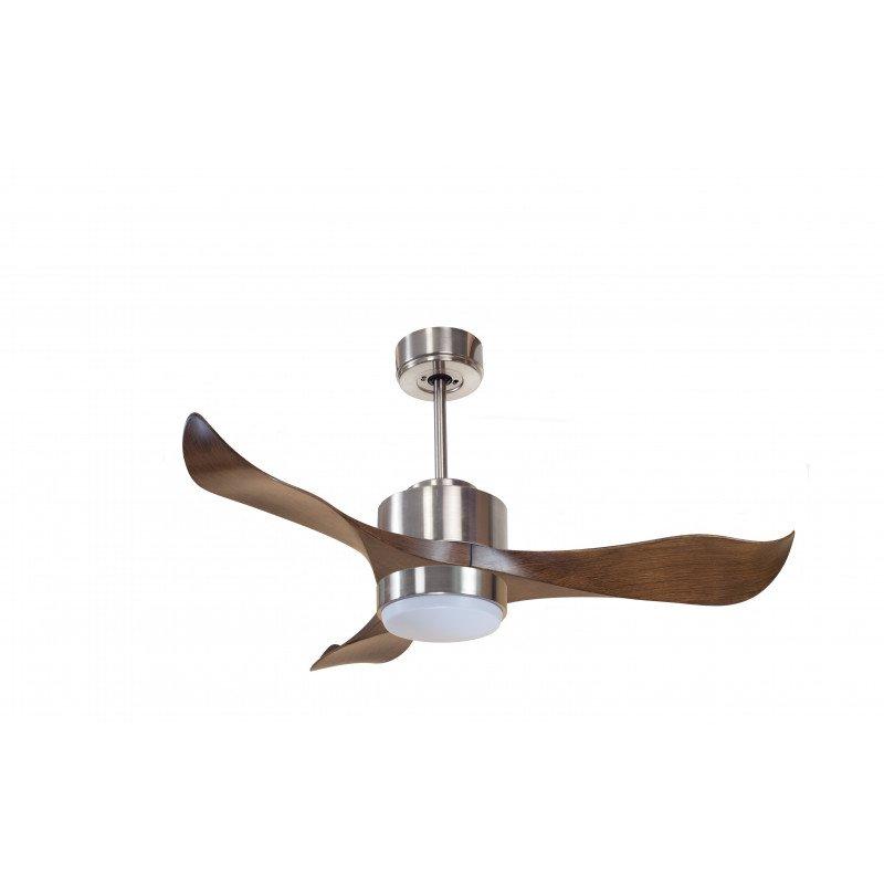 Modulo von KlassFan. Hyper Silence DC Deckenventilator mit Licht und Fernbedienung, Massivholz Flügel, für Räume von 15 bis 30 m
