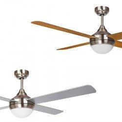 Effy von LBA Home. DC Deckenventilator mit LED Licht und Fernbedienung, 122 cm, Rückwärtslauf und Zweifarbige Flügel.