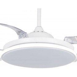Sefir von LBA Home. AC Deckenventilator, 107 cm, mit dimmbares Licht, durchsichtige einziehbare Flügel, Hocheffizient,weiß, mode
