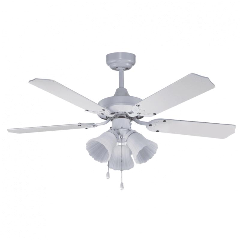 Gabin von LBA Home. 107 cm, AC Deckenventilator mit LED-Licht und Fernbedienung, E27, klassisch, weiß.