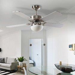 Hero von LBA Home. 107 cm, AC Deckenventilator mit LED Licht, E27, mit Zugschalter und optionale Fernbedienung, klassisch, weiß