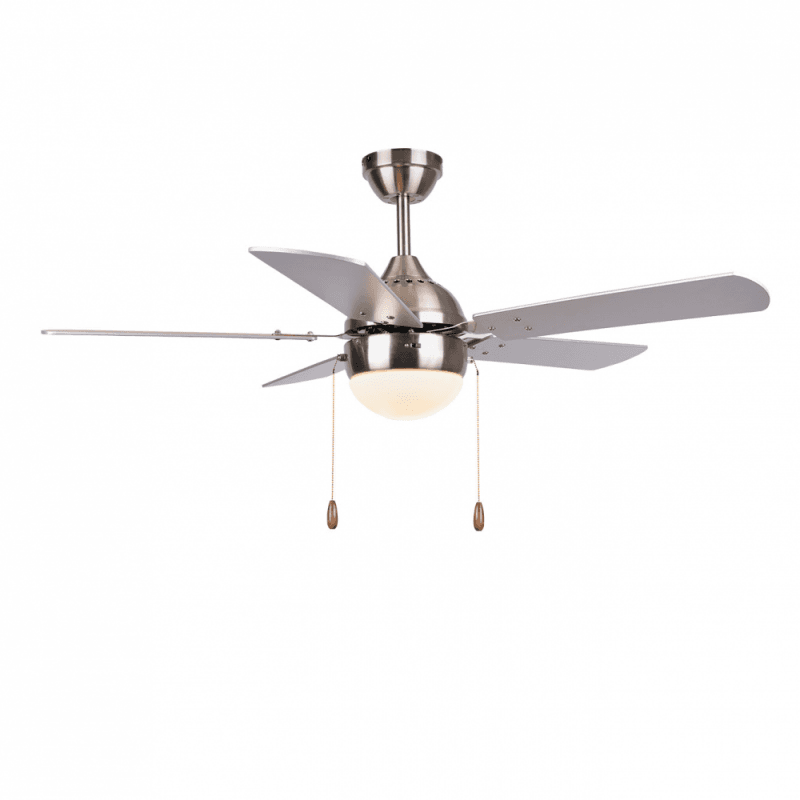 Pomona von LBA Home. 106 cm, AC Deckenventilator mit LED-Licht, E27, Zugschalter und Fernbedienung, silber.