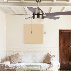 Pomona von LBA Home. 106 cm, AC Deckenventilator mit LED-Licht, E27, Zugschalter und Fernbedienung, braun und nickel.