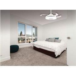 Mastersound von LBA Home. 107 cm, AC Deckenventilator mit Licth und Lautsprecher, durchsichtige einzihbare Flügel, weiß, modern.