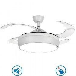 Tulyp White von LBA Home. AC Deckenventilator mit Licht und Fernbedienung, einziehbare transparente Flügel, modern, weiß.