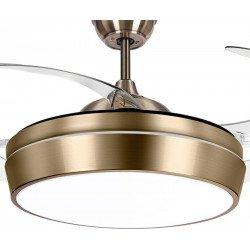 Tulyp Brass von LBA Home. AC Deckenventilator mit Licht und Fernbedienung, einziehbare transparente Flügel, modern, messing.
