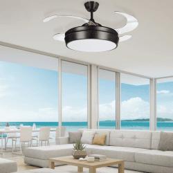 Tulyp Antic Braun von LBA Home. AC Deckenventilator mit Licht und Fernbedienung, einziehbare transparente Flügel, modern, braun.