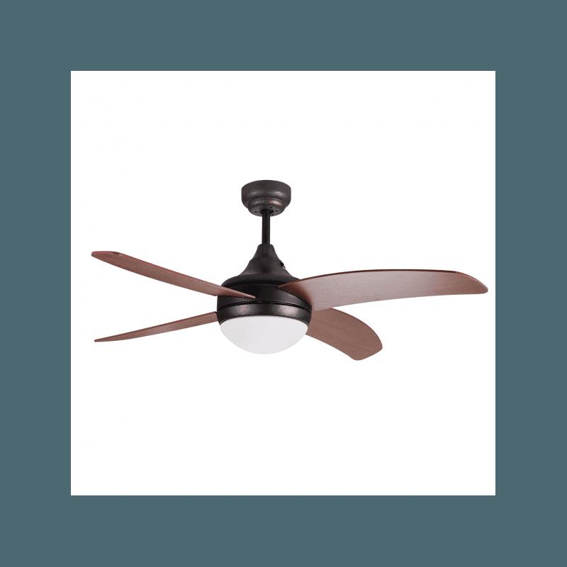 Artus von LBA Home. AC Deckenventilator mit Licht und Fernbedienung, 116 cm, für Schlafzimmer geeignet, modern, schwarz und dunk