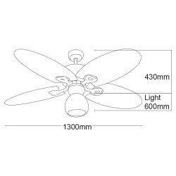 Palma von LBA Home. 130 cm, AC Deckenventilator mit palmblattförmige Flügel.