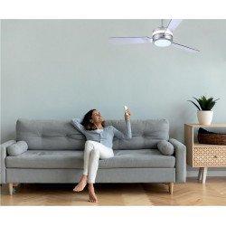 Pura von LBA Home. DC Deckenventilator mit dimmbares LED Licht, 127 Cm, transparente Flügel, design.