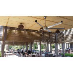 Bigcool von KlassFan. DC Deckenventilator mit Licht, 236 Cm, schwarzes Gehäuse, Holzimitation Aluminium Flügel, sehr groß, moder