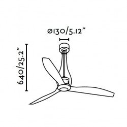 ETERFAN - Designer Deckenventilator, DC, 130 cm, , glänzend schwarz, Fernbedienung