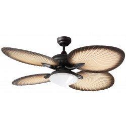 Bali von LBA Home - 130 cm, AC Deckenventilator mit Flügel in Form von Palmenblätter, mit Licht, für den Außenbereich
