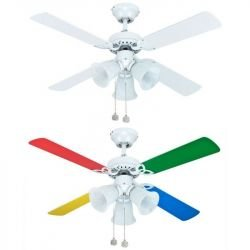Deckenventilator für Kinder 105 Cm mehrfarbige Flügel und 3 Scheinwerfer