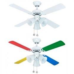 Deckenventilator für Kinder 105 Cm mehrfarbige Flügel und 3 Scheinwerfer