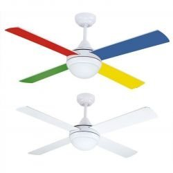 Deckenventilator für Kinder 105 Cm mehrfarbige Flügel, Beleuchtung und Fernbedienung