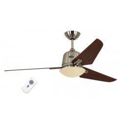DC AVIATOS BN-KI - moderner Deckenventilator , 132 cm. Chrom gebürstet, Ahorn Flügel, Beleuchtung, ruhiger Lauf