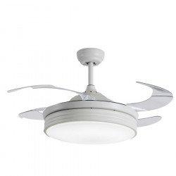 Shiva von LBA Home. AC Deckenventilator mit Licht und Fernbedienung, 107 cm, weiß, transparente einziehbare Flügel, Internetansc