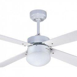 Deckenventilator mit Beleuchtung, 107 cm, mit Fernbedienung, weiße Flügel - Libetronic weiß
