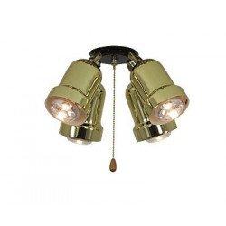 Anbauleuchte für Deckenventilator 4 Lichter, Eco Elements, Karibischer Traum, Satin Stern Royal, Messing poliert