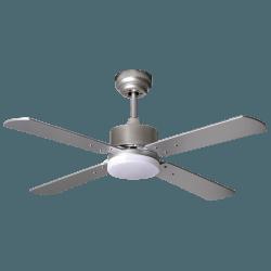 Sevilla - DC Deckenventilator mit Beleuchtung und Fenrbedienung, Wendeflügel Eiche/Silber, 107 cm