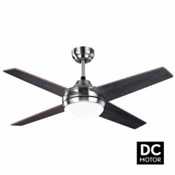 Elysa Wenge - DC Deckenventilator mit Wendeflügeln, mit Beleuchtung und Fernbedienung, 112 cm
