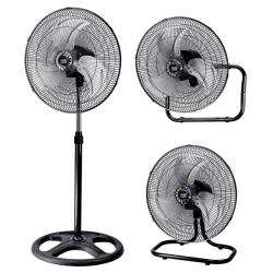 Set von 3 Ventilatoren Maloja - 3 in 1 - Stand -, Tisch-, Wandventilator, Schwarz und Chrom, 45 cm