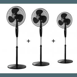 Inverna - Set von 3 Standventilatoren, 40 cm, in schwarz, mit Fernbedienung