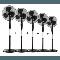 Inverna - Set von 5 Standventilatoren, 40 cm, in schwarz, mit Fernbedienung