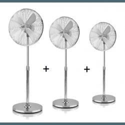 Pali - Set von 3 oszillierenden Standventilatoren, 50W, 44 cm, in grau