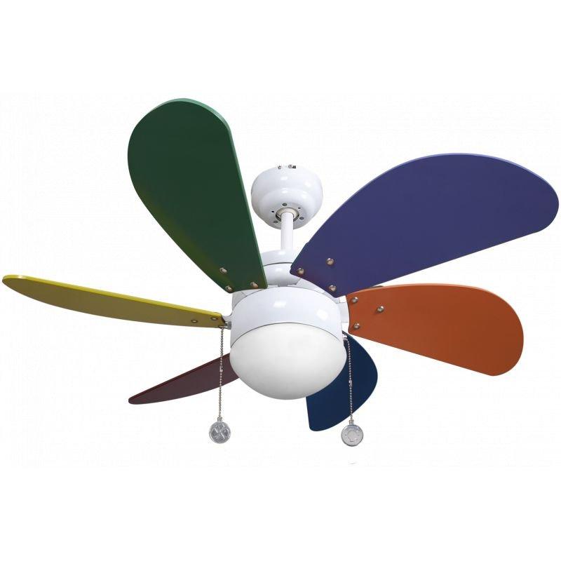 Deckenventilator 65 cm, mit Lampe, mehrfarbige Flügel, ideal für Kinderzimmer