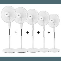 Set von 5 Standventilatoren Arifi - 40 cm, oszillierend, 125 cm Höhe, leistungsstark und elegant