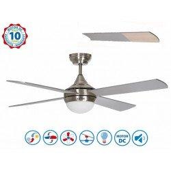 Volt By KlassFan - DC Deckenventilator für Belüftung und Wärmerückführung mit dimmbarem LED Licht, Thermostat, Wi-Fi