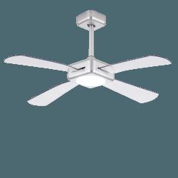 Quartet Grau von LBA Home - DC Deckenventilator mit dimmbarem LED Licht, 127 cm, mit transparenten Flügeln, Rückwärtslauf