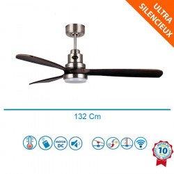 Lanzarote BS DW- Designer Deckenventilator für Belüftung und Wärmerückführung, 132 cm, mit WLAN, Thermostat, dimmbarem LED Licht
