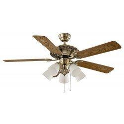 Casafan Centurion - Deckenventilator, klassisch, mit Beleuchtung, 132 cm Messing Antik, Flügel Nussbaum / Eiche Antik
