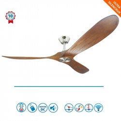 Geronimo - Designer DC Deckenventilator für Wärmerückführung/Belüftung152 cm, Flügel aus Holz, WLAN, Thermostat