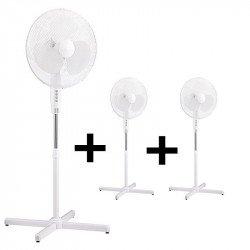 Pack von 3 x oszillierenden Standventilatoren in weiß, 40 cm