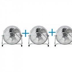 Pack von 3 Industriellen Hochgeschwindigkeitsventilatoren Austro, 35 cm, 55 Watt mit Galgen und 180 ° Drehung.