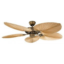 Deckenventilator, Royal MA Palme132 cm,Messing Polliert, Eiche Antik