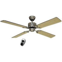TELESTO BN - Deckenventilator, 132 Cm, leise, Flügel Wenge / Ahorn und Chrom gebürstet, Fernbedienung, CASAFAN