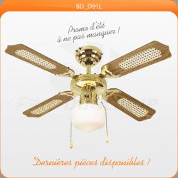Deckenventilator 91 cm, ideal für Räume 9-13m², Antik Messing