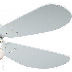 Deckenventilator 105 cm.Weiße Flügel, weißer Körper aus Stahl.Kiefer Flügel, Licht