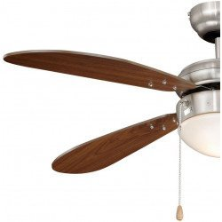 Deckenventilator 105 cm.Nussbaum Flügel, Gehäuse aus Stahl vernickelt