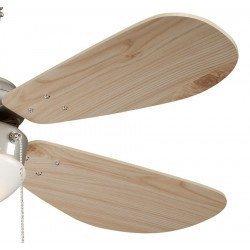 Deckenventilator 105 cm. Kiefer Flügel, Gehäuse aus Stahl vernickelt