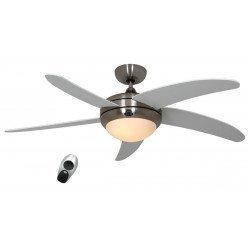 CASAFAN Elica - Designer-Deckenventilator, ruhig, mit Licht, 132 Cm, Chrom gebürstet, Flügel Lack weiß glänzend