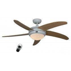 CASAFAN Elica - Designer-Deckenventilator, ruhig, mit Licht, 132 Cm, Lack weiß, Flügel Ahorn
