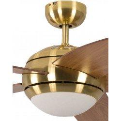 Melton Messing - Deckenventilator, ruhig, Design, 132 Cm, mit Beleuchtung, Chrom gebürstet, Flügel – Kirsche/Ahorn,  Pepeo Melto