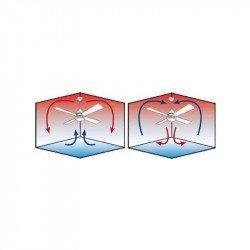 Melton - Deckenventilator, ruhig, Design, 132 Cm, mit Beleuchtung, Chrom gebürstet, Flügel weiß,  Pepeo Melton
