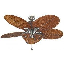 Patio, Deckenventilator, kolonial, 132 Cm Gehäuse Nickel, Flügel braun, mit Beleuchtung